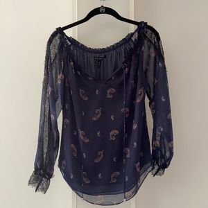 WHBM Paisley Off The Shoulder Sheer Lace Blouse